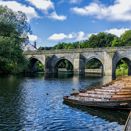 Durham Boats by Adam Lang - City,  Street & Park  Historic Districts ( durham, boats, bridge, boat house, river )