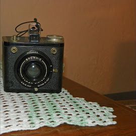Brownie by Sandy Stevens Krassinger - Artistic Objects Antiques ( still life, camera, artistic object, lens, antique,  )