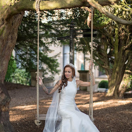 Swing time! by Richard Shepherd - Wedding Bride ( trees, summer, swing, bride, woods )