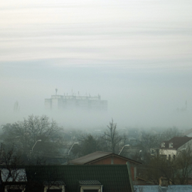 Fog by Sorin Rizu - City,  Street & Park  Neighborhoods ( foggy, houses, tree, fog, day, city )