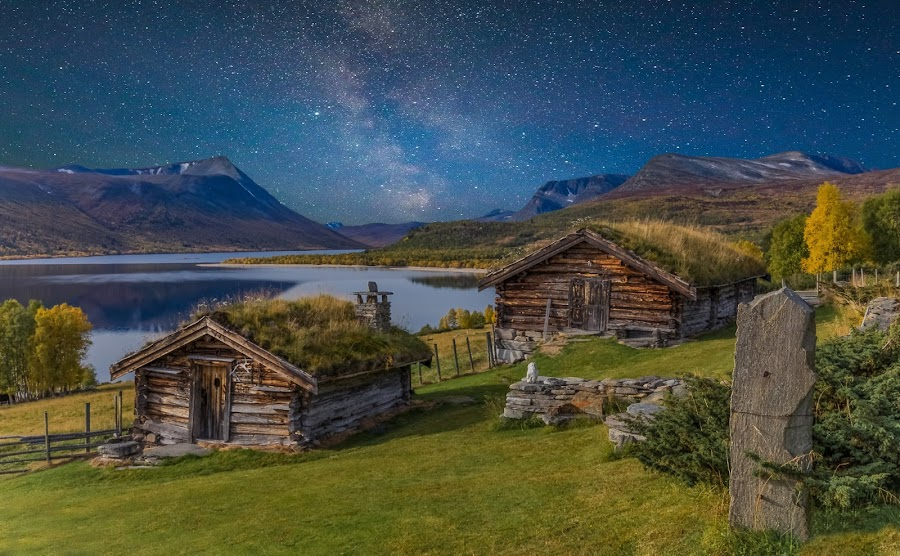 Autumn in Trollheimen, Norway by Grete Øiamo - Buildings & Architecture Other Exteriors ( water, milkyway, houses, fields, milky way )