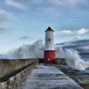Breaking Wave by Paul Stevenson - Landscapes Weather ( northumberland, weather, pier, berwick upon tweed, stormy sea )