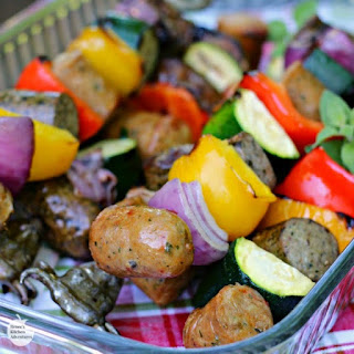 Easy Grilled Chicken Sausage and Pepper Kabobs