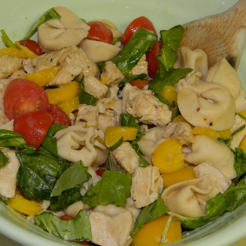 Balsamic Chicken, Spinach + Tomato Tortellini Salad