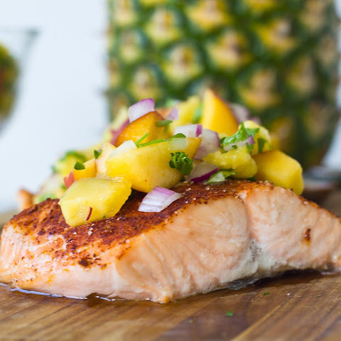 Chili-Rubbed Salmon with Peach Pineapple Salsa