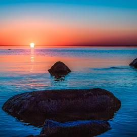Sunset on Lake Winnipeg by Dave Lipchen - Landscapes Beaches ( sunset on lake winnipeg,  )