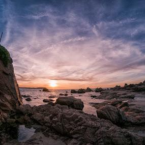 On the rocks by Maurizio Mameli - Landscapes Waterscapes ( sky, sardinia, sunset, cloud, sea, rock, seascape, landscape, italy, rocks, sun )