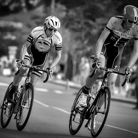 Edging to Front Position - B&W by Garry Dosa - Sports & Fitness Cycling ( athletes, bicycles, person, b&w, cycling, racing, black & white, sports, summer, bokeh, people, tour de white rock )