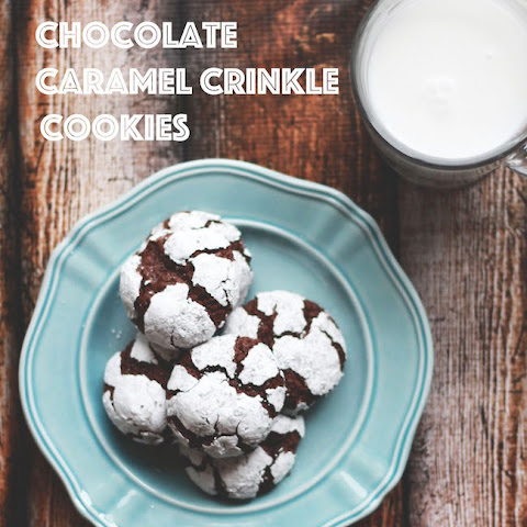 Chocolate Caramel Crinkle Cookies
