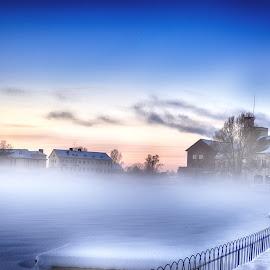 Foggy City Center by Eva Apelgren - Uncategorized All Uncategorized ( winter fogg landscape city eskilstuna nature munktell water )