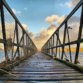 Bridge to the beach by Gordon Bain - Buildings & Architecture Bridges & Suspended Structures ( footbridge, sky, lossiemouth, bridge, beach. )