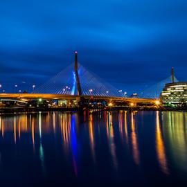 Lenny Z  by Michael Phillips - Buildings & Architecture Bridges & Suspended Structures ( boston, nikon d3100, night photography, long exposure,  )