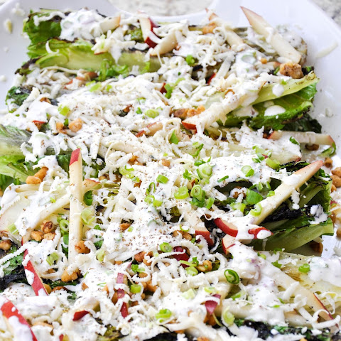 Grilled Romaine Salad with Crimson Pear and Candied Walnuts