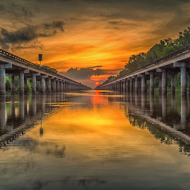 Atchafalaya Basin Sunrise by John Chitty - Landscapes Sunsets & Sunrises ( atchafalaya, louisiana, lines, sunrise, bridges )
