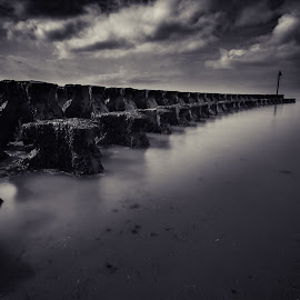 On Point by Simon Talbot-Hurn - Landscapes Beaches ( water, sea defenses, waterscape, black and white, moody, sea, landscape photography, architecture, beach, landscape, atmospheric )