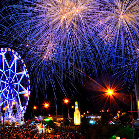 Fireworks Show Display  by Wilbert Quebral - City,  Street & Park  Street Scenes