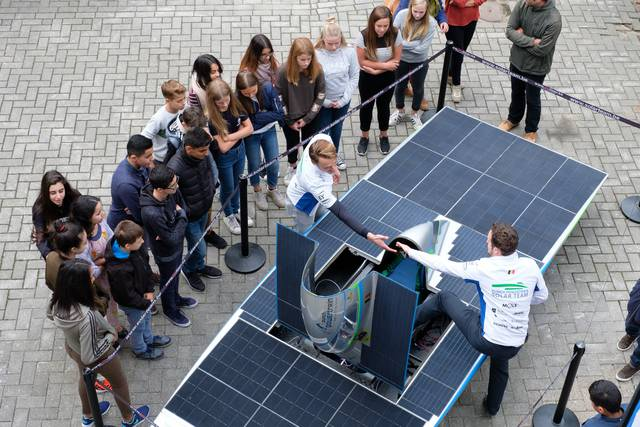 Suddenly there is a solar car in our school.