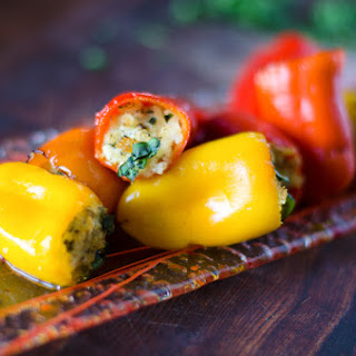 Pesto Goat Cheese Stuffed Sweet Peppers