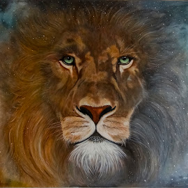 EL REY by Miguel Lopez De Haro - Painting All Painting ( fauna, leon, oleo, pintura )