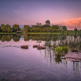 Silence. by Gene Brumer - Landscapes Waterscapes ( water, sky, red, sunset, silence, rocks, pond )