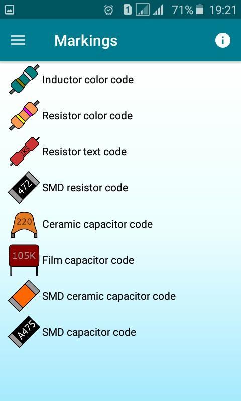Radio components calculator Screenshot 2
