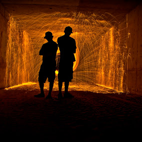 Silhouette  by Jordan Wangsgard - Abstract Light Painting ( orange, light painting, steel wool, silhouette, long exposure, nightography, sparks, black, fire, tunnel )