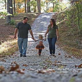 Walking the Trail by Daryl Peck - Novices Only Portraits & People ( walking, novice, holding, forest, road, gravel, leaves, woods, people, autumn, family, outdoors, trail, fall, walk, holding hands )