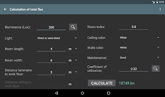 Screenshot of Lighting calculations PROKey