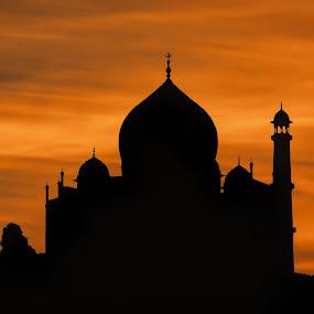 Taj Mahal Silhouette at Sunset by Martin Belan - Buildings & Architecture Public & Historical ( taj mahal sunset, sunset, silhouette, taj mahal, india,  )