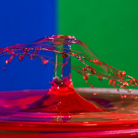 Drip Drip... by Steve Kazemir - Abstract Water Drops & Splashes ( colour, drip, water, red, blue, double drop, green, umbrella )