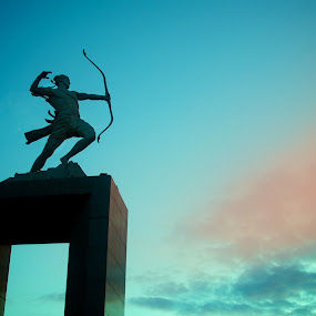 Panahan by Ferdinand Neman - Buildings & Architecture Statues & Monuments ( archer, colour, statue, sky, dawn )
