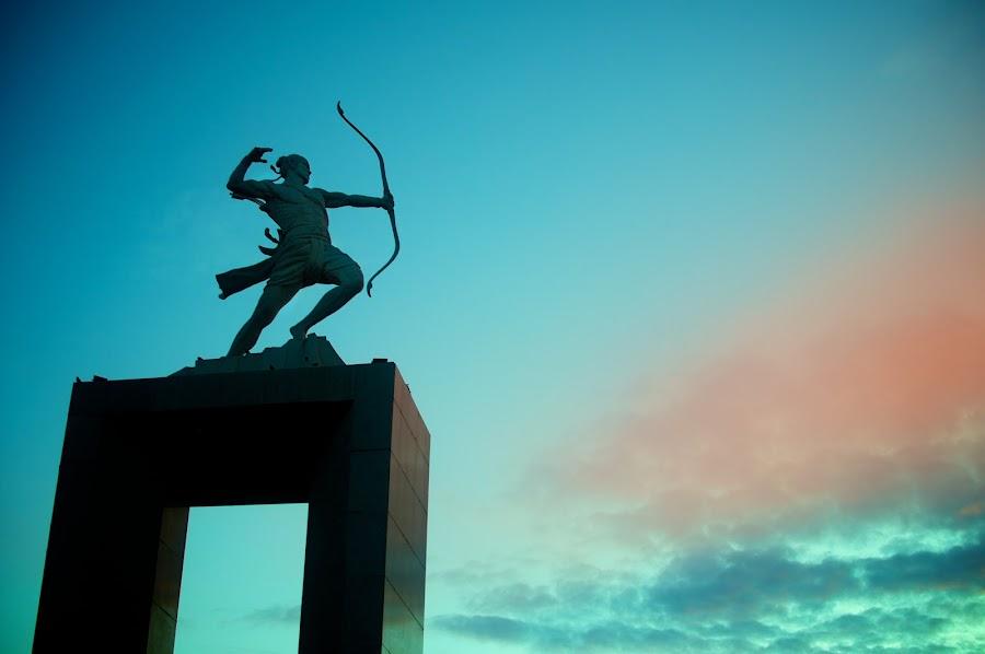 Panahan by Ferdinand Neman - Buildings & Architecture Statues & Monuments ( archer, colour, statue, sky, dawn )