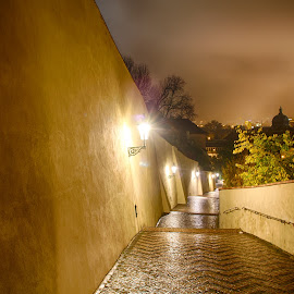 Path to Prague Castle by Mathijs Vos - City,  Street & Park  Night ( path, night, castle, lanterns, prague, city )