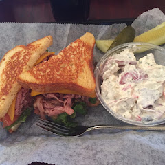 Roast beef and cheese on GF bread with potato salad. Delicious!