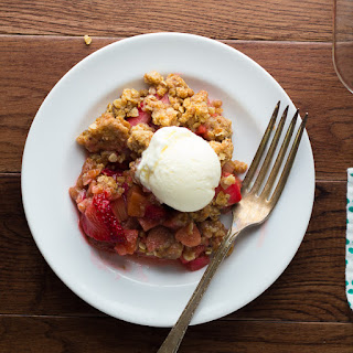 Strawberry Rhubarb Crisp with Oatmeal Cookie Streusel