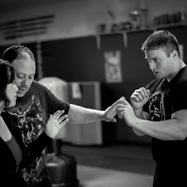 Fight training by Jacob Sheppard - People Group/Corporate ( fight, black and white, action, portrait, martial arts )