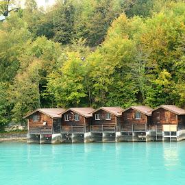 Lakehouses by Ushashi Banerjee - Novices Only Landscapes ( wood, color, blue, lake, house )