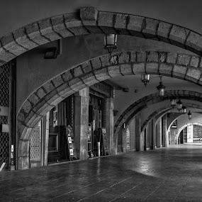 Girona by Jose Maria Vidal Sanz - City,  Street & Park  Vistas ( catalonia, girona, black and white, old city, street photography,  )