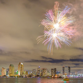 Fireworks over SD skyline (July 4) by Vamsi Sata - City,  Street & Park  Skylines ( san diego, ferry landing, fireworks, coronado, july 4 )