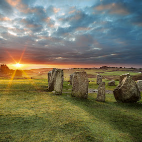 Drombeg Stone Circle Sunrise by Jirka Vráblík - Landscapes Sunsets & Sunrises ( ireland, drombeg, west cork, sunrise )