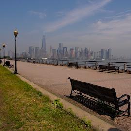 Battery Park NYC from Liberty Park by Dennis Hussey - City,  Street & Park  City Parks ( nyc world trade center liberty park skyline )