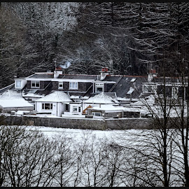 Gadgirth Mains by Stephen Crawford - Buildings & Architecture Homes ( houses, snow, telephoto, gadgirth, annbank )