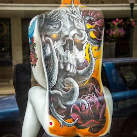 Tattoo Thru The Glass by Jerome English - Artistic Objects Signs ( window, colorful, advertising, glass, street scene, mannequin, tattoo, close up, street photography )