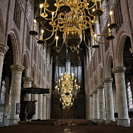 Interior Oude Kerk Delft 1 by Anita Berghoef - Buildings & Architecture Places of Worship ( interior, chandelier, bench, church, oude kerk, architectural detail, architecture, benches, organ, pilar, the netherlands, place of worship, architectural, pilars, delft )