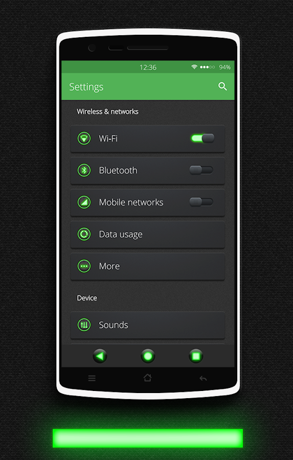 Glow Green CM13 CM12.x Theme Screenshot 0
