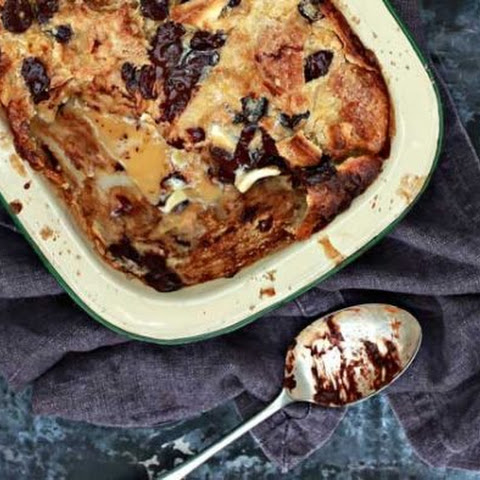 Black and White Croissant Bread Pudding