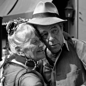 Young at Heart by Venetia Featherstone-Witty - People Couples ( black and white, buenos aires, people, portrait, emotion, human, argentina, tango, couple hugging, dancing in the street, old couple, couple, dance )