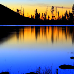 Silver ,Blue and Gold... by Dennis Ducilla - Landscapes Waterscapes ( reflrctions, mountains, reflection, blue, trees, lake, gold, ducilla, slow shutter )