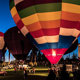 NYS Festival of Balloons GLOW event by Adam Northrup - Transportation Other ( hot air balloon, livingston county, new york state festival of balloons, dansville, new york, panorama )