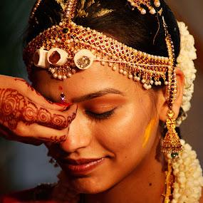 Elegance by Dhruv Ashra - People Body Parts ( hand, wedding, indian, pwchands, bride, tilak )